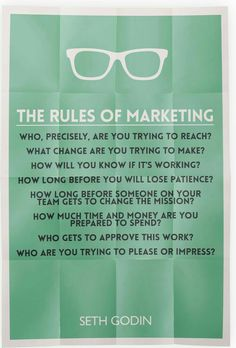 Points to ponder! Be precise enough to know the necessaries. The Rules of Marketing from Seth Godin. Marketing Digital, Event Marketing, Marketing Quotes, Sales And Marketing, Business Marketing, Content Marketing, Online Marketing, Social Media Marketing, Internet Marketing