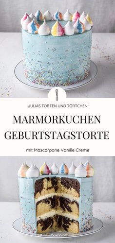 Bunte Marmorkuchen Geburtstagstorte mit Streuseln Marble Cake Birthday Cake Recipe for Birthday Cake / Birthday Cake for Kids, Teenies or Girls / Women. Indoor marble cake with mascarpone vanilla cream. Outside with sprinkles. Red Wine Gravy, Cake Recipes, Dessert Recipes, Best Pie, Cupcakes, Marble Cake, Food Cakes, Savoury Cake, Chocolate Chip Cookies