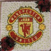 Manchester United Funeral tribute Funeral Flower Arrangements, Funeral Flowers, Casket Sprays, Funeral Tributes, Picture Boards, Sympathy Flowers, Local Florist, Flowers Online, Flower Basket