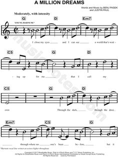 Print and download A Million Dreams sheet music from The Greatest Showman. Sheet music arranged for Piano/Vocal/Chords in G Major. Violin Songs, Easy Piano Songs, Saxophone Music, Tenor Sax, Disney Piano Music, Alto Sax Sheet Music, Piano Sheet Music Letters, Trumpet Sheet Music, Good Music Quotes