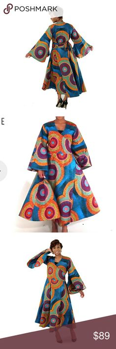 African Print Wrap Around Dress 100% Light Cotton. Very Flowy. Wonderful for Cruises, Weddings, Church Events, Brunches, Speaking Engagements, etc Just Skirting By Dresses Midi