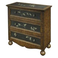 Three-drawer chest covered in an antique-style map print