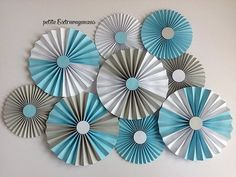 Paper Rosettes/ Fans - Light Blue, Gray, White It& A Boy Baby Shower Decorations Gender Reveal Decorations Gender Reveal Decorations, Baby Shower Decorations For Boys, Diy Party Decorations, Paper Decorations, Birthday Decorations, Paper Rosettes, Paper Flowers, Diy And Crafts, Paper Crafts