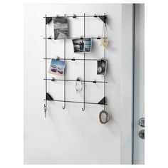 MYRHEDEN Memo board with clips, black. Do you also have trouble keeping track of notes and paper? Then a memo board can be a perfect solution. Display things not to be forgotten ― and photos and other things that you always want to remember. Smart Storage, Locker Storage, Armoire Pax, Memo Boards, Ikea Family, Fixation, Whiteboard, Windows, Planks