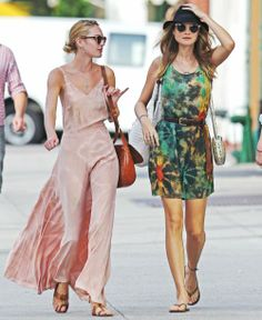 The street is Candice Swanepoel and Behati Prinsloo's runway in these stunning summer looks.