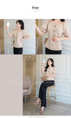 Puffed Sleeves Button-Up Blouse Color Stories, Contemporary Fashion, Korean Fashion, Button Up, Puffed Sleeves, Fashion Outfits, Model, Clothes, Shopping