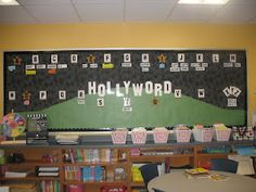 My classroom is going to be Hollywood theme this year and I LOVE this word wall idea! Classroom Word Wall, Classroom Design, Future Classroom, School Classroom, Classroom Themes, Classroom Organization, Movie Classroom, Organizing, Seasonal Classrooms