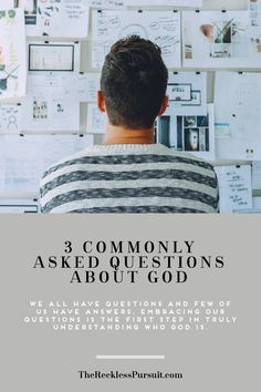 Let's face it, we all have about a million plus once questions we would like to ask God. Here are 3 commonly asked questions about god. Embracing our questions is the first step in truly understanding who God is. #TheRecklessPursuit #TRPpodcast #podcast #christianpodcast #personaldevelopment #selfhelp #church #spotify #faithpodcast #podcasts #SpotifyOriginals #educational #questions #asking