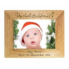 Personalised First Christmas Oak Photo Frame