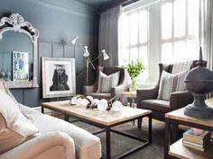 Wohnzimmer Grau Dunkegraue Wnde Weisses Sofa Dunkler Holzboden Leuchter