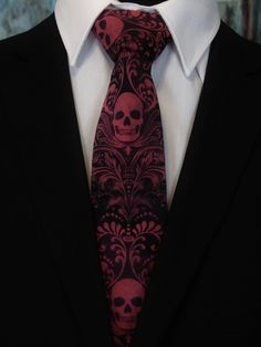 Weddings Discover Skull Neck Tie – Pink and Black Skull Ties, Very Limited Production. Please read item description. Gothic Wedding, Dream Wedding, Skull Wedding, Disfarces Halloween, Rustic Halloween, Gothic Fashion, Mens Fashion, Wedding Suits, Wedding Dresses