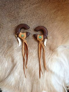 MADE TO ORDER  A pair of Tribal leather handmade wooden hooped gauged plugs