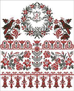 Рушник розы схема вышивки