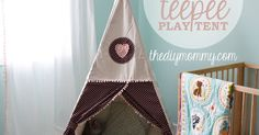 A couple of years ago, I made a sweet little teepee play tent for my toddler to read in. She loves cuddling in there with a book!  #KidSpace It wasn't too hard…