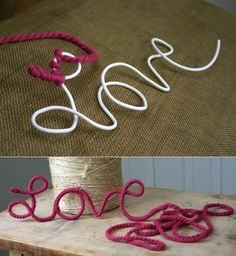 DIY: yarn love DIY: hilo de amor And Home Improvement Crafts To Do, Yarn Crafts, Arts And Crafts, Decor Crafts, Diy Simple, Easy Diy, Art Fil, Diy Letters, Yarn Letters
