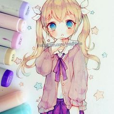 I will stock up on pens soon...then I can draw more stuff ༼ つ ◕_◕ ༽つ - -#copic #multiliner #cansonpaper #copicmarkers #anime #animegirl #kawaii #cute #copicart #moe #drawing #illustration #markers