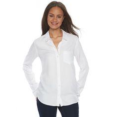Juniors' SO® Twill Button-Down Shirt, Girl's, Size: