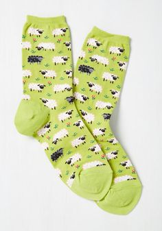 It's All Sheep to Me Socks - Green, Multi, Print with Animals, Critters, Good…