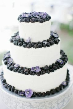 3-tiered Blackberry Wedding Cake