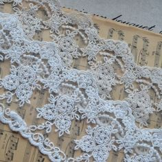 """3.5"""" Wide White Mesh Lace Trim Floral Embroidery Lace Trim 
