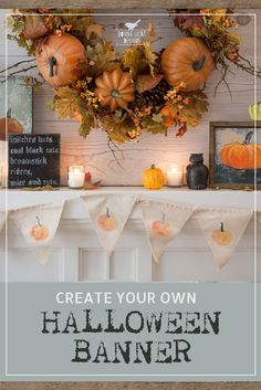 Simple instructions for creating your own vintage style Halloween banner to add to your fireplace mantel display. via @bmurphylecat