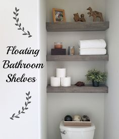 13 Quick and easy tips for organizing the bathroom - classy messFloating shelves above the toilet in the small bathroom bathroomdecorHow to reinvent your bathroom with over the toilet shelves DIY bathroom shelves 13 Quick Shelves Behind Toilet, Bathroom Shelves Over Toilet, Downstairs Toilet, Small Bathroom, Over Toilet Storage, Bathroom Beadboard, Bathroom Canvas, Neutral Bathroom, Bathroom Cabinets