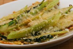 Baked Swiss Chard Stems Recipe with Olive Oil and Parmesan.  Buy some swiss chard to make soup and use them stems for this delicious dish!  [from Kalyn's Kitchen] #LowCarb  #SouthBeachDiet  #GlutenFree