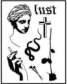 #lust #darkartists #btattooing #onlythedarkest #onlyblackart #blacktattooart #blackworkers #tttism #marble #cross #smoke #blackrose #snake