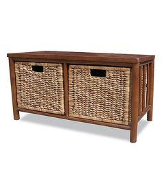 Dark Brown Two-Drawer Bamboo Bench by Heather Ann #zulily #zulilyfinds