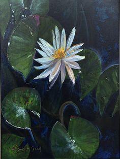 LOTUS FLOWER An Original Acrylic Fine Art by AlanKrugFineArt