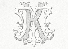 Digital Wedding Monogram KT TK Vintage Double