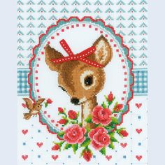 Bambi and Roses with Bow - counted cross-stitch kit Vervaco