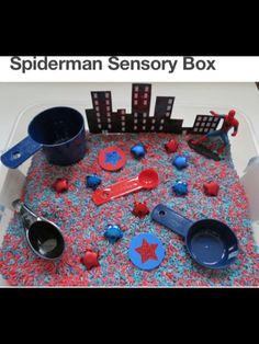 Create a superhero sensory bin for your preschooler to have some hands on sensory time. Create a superhero sensory bin for your preschooler to have some hands on sensory time. Sensory Tubs, Sensory Boxes, Sensory Activities, Sensory Play, Activities For Kids, Learning Activities, Sensory Diet, Superhero Preschool, Superhero Classroom