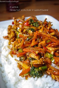 Wok, Asian Recipes, Recipies, Food And Drink, Rice, Cooking Recipes, Chicken, Kitchen, Pies