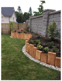 Modern Front Yard, Backyard Garden Landscape, Fenced Garden, Garden Beds, Backyard Pools, Diy Garden, House Landscape, Landscape Architecture, Landscape Steps