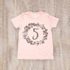 144fc6f8 Five Year Old Birthday Shirt, Toddler T Shirt in Peach Three Year Olds,  Birthday