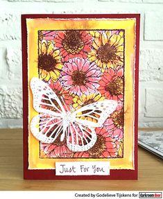 Card by Godelieve Tijskens using Darkroom Door Gerberas Photo Stamp