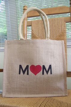 Mom tote bag Burlap bag Mother's day gift by KelleysCollections