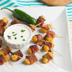 Bacon Wrapped Tater Tots. Can you say: Yum?