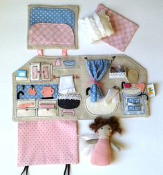 Ready to ship Textile Sewed Dollhouse with a by MummusCreatures