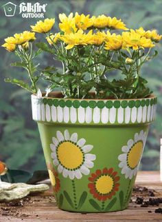Plaid® FolkArt® Pretty Flower Pot- so pretty- would match our house! Flower Pot Art, Flower Pot Design, Clay Flower Pots, Terracotta Flower Pots, Flower Pot Crafts, Cactus Flower, Clay Pot Projects, Clay Pot Crafts, Diy Crafts