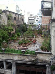 A lovely hidden garden atop a derelict building at the corner of Filopoimenos and Riga Ferraiou streets in Patras, West Greece.