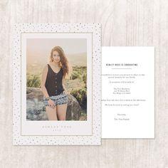 Graduation Announcement Invitation Card Template Gold Confetti $10