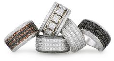 R79 Collection: Signature rings from the Renaissance by Jenna Clifford Collection mastercrafted in white gold (375) set with round brilliant cut cubic zirconia.