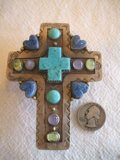 Huge Exquisite DEMIAN & ALEX Sterling Silver and Gemstone CROSS Pendant, Turquoise Lapis Peridot Moonstone