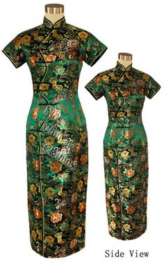 Big picture of Chinese Beautiful Brocade Party Dress - Green