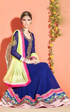 BLUE & YELLOW GEORGETTE ANARKALI SALWAR KAMEEZ - SLF 9655