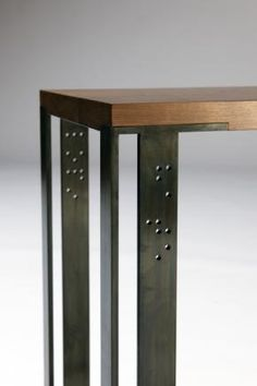 Braille Side Table.  Limited edition piece with the words love and hate. Gun-blued steel and Walnut. Ed Cruikshank 2011