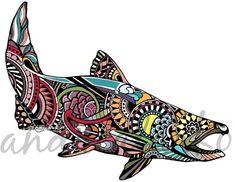 Zentangle Chinook Salmon Laminated Vinyl Decal by andrealarko Salmon Tattoo, King Salmon, Fish Tales, Salmon Fishing, Fly Fishing, Fishing Shirts, Fishing Lures, Artwork Online, Fish Print