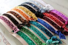 Glitter Elastic Hair Ties - Choose 3 colors - Knotted Hair Ties - Ponytail Holders. $5.00, via Etsy.